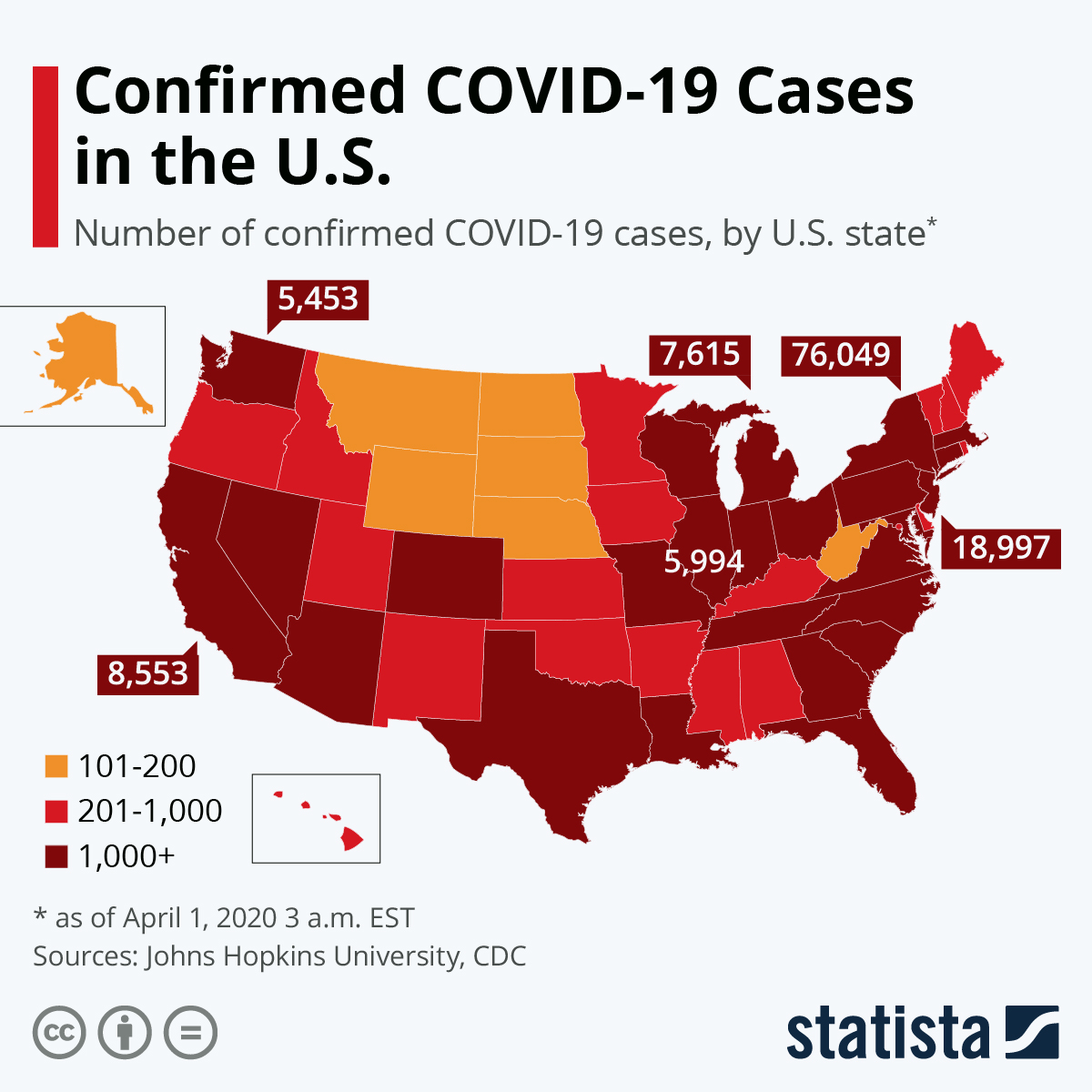 Confirmed COVID-19 Cases in US